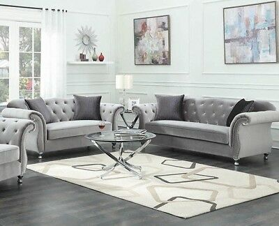 MODERN LUXE GLAM Living Room 2 Piece Sofa Loveseat Couch Set ...