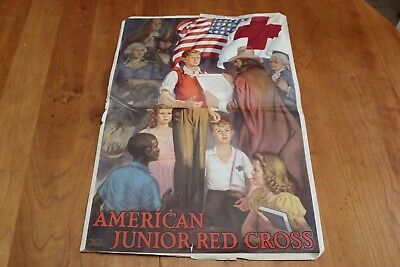 "Walter Beach Humphrey Vintage American Junior Red Cross Poster 15""x22"" 1940s"