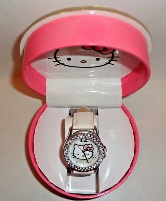 Brand New In Box Hello Kitty Wrist Watch White With Bling And Origibal Box