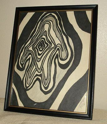 Zebra effect abstract painted on felt Signed dated 92 Maybe South African Artist