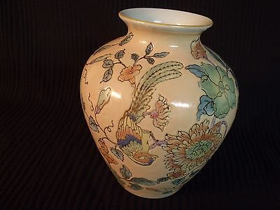 """Vintage Chinese Hand Painted Inscribed Porcelain 8"""" Parrots Vase"""