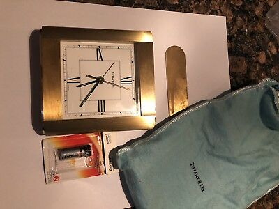 Genuine Tiffany & Co Swiss Made Brass Desk Clock!! Free Shipping!!