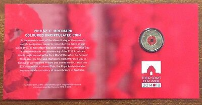 2018 Australian Armistice Remembrance Day Coloured $2 coin C mint mark