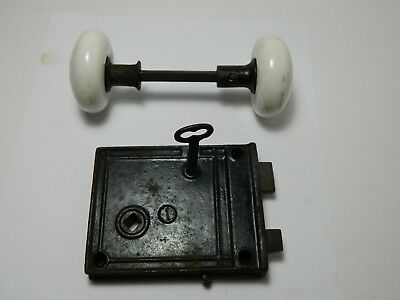 Antique  Mortise Door Knob Lock Set Antique White Porcelain Knobs w/Key