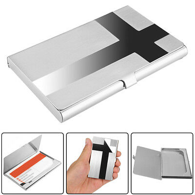 Stainless Steel Cross Pocket Business Name Credit ID Card Case Metal Box holder