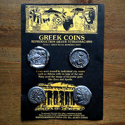 4 One-Sided Ancient Greek Coin Replicas - can be used as an Educational Resource
