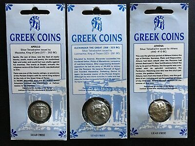 Set of 3 Two-Sided Ancient Greek Coin Replicas •Educational Resource• FREE SHIP