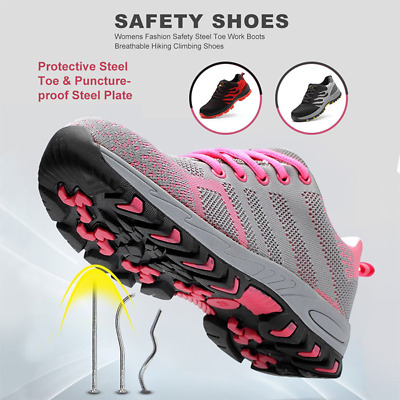 Womens Safety Steel Toe Work Boots Female Breathable Hiking Climbing Shoes US