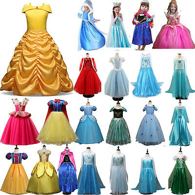 Kids Girls Princess Belle Elsa Anna Fancy Dress Cosplay Costume Tulle Tutu Dress