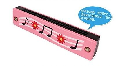 (Pink) - CYNDIE Cartoon Printing 16 Hole Wooden Harmonica Musical Instrument