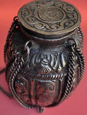 Silver Cannister Medicine Container Possibly Intricate Detail