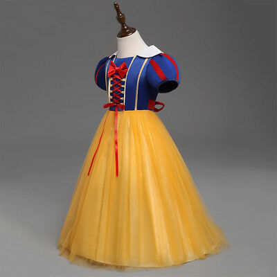 Kids Girls Princess Snow White Fancy Dress Cosplay Costume Party Clothes