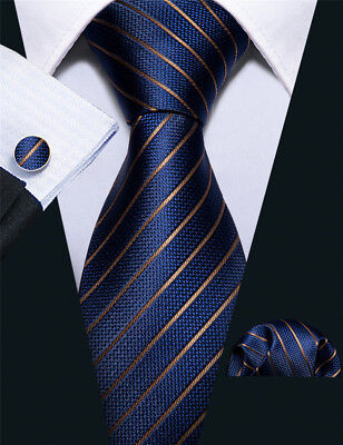 6fa03bc345ad USA Classic Silk Blue Gold Striped Mens Ties Necktie Pocket Square Set  Wedding