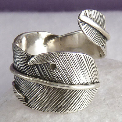 FEATHER LEAF Wrap Ring Size US 7-10 (Adj) SilverSari Solid 925 Sterling Silver