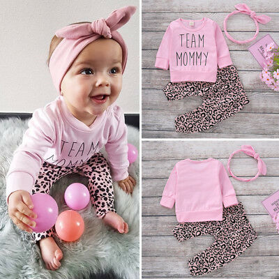 Newborn Kid Baby Girl Leopard print Clothes Tops T Shirt Pants Tracksuit Outfits