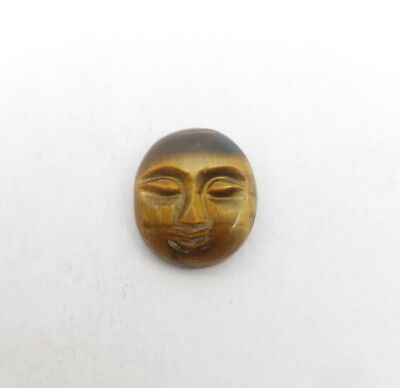 Natural Tiger's Eye Hand Carved Face loose Gemstone 11.30*13.20 MM 6.80 CT