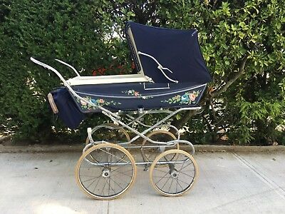 Vintage Silver Cross Carriage Pram Kensington Blue Navy Baby Carriage