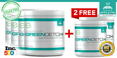 6 Green Detox Superfood Drink Mix   Sugar Free   No Cereal Grass  180 Day Supply