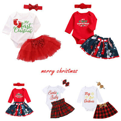 34077e17966d Newborn Baby Girl Christmas Clothes MY 1st First CHRISTMAS Romper Tutu  Outfit US