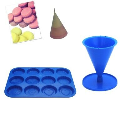 Set x 2 Cone Candle Mould with Base & Wax Melt Tart Tray, Swirl, Heart etc S7756
