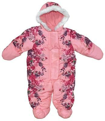 Baby Girls Pink Floral Bow Rose Hooded Snowsuit Pramsuit Coat 3 to 12 Months
