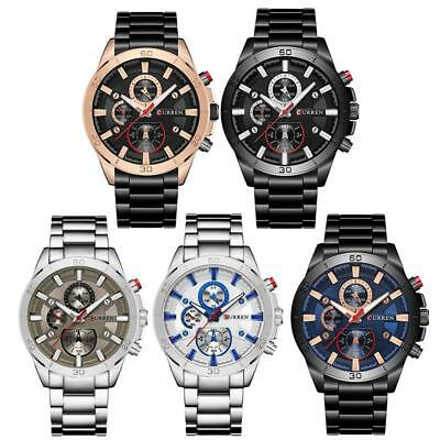 CURREN Business Chronograph Stainless Steel Band Men Aviator Quartz Wrist Watch