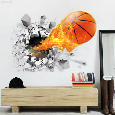A447 3D Basketball Removable Wall Stickers Home Decor Kid's Room Bedroom Decals