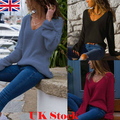 Fashion Womens V-neck Pullover Jumper Ladies Tops Winter Autumn Knit Sweater UK