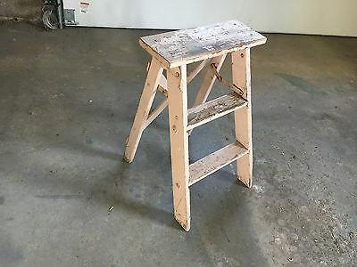 Vintage Wood Step Ladder Tan Shabby Garden Plant Stand Large Top