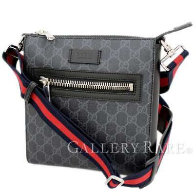 69e8d7786d597 GUCCI Black Gray GG Supreme Canvas Italy Men s Messenger Bag Authentic  5017164