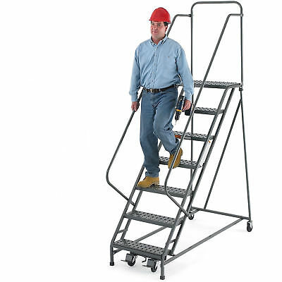 "EGA R217 Steel EZY-Climb Ladder w/ Handrails 10-Step, 30"" Wide Grip Strut, Gray,"