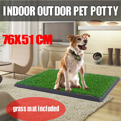 Out Indoor Dog Pet Potty Training Portable Toilet Large Loo Pad Tray Grass Mat