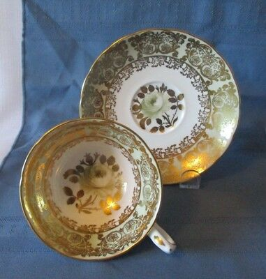 Grosvenor Cabinet Cup & Saucer Heavey Gold Accents  White Rose  Perfect