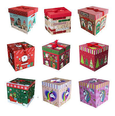 Christmas Eve Gift Box Large Xmas Present Wrapping Boxes Ribbon Lid New
