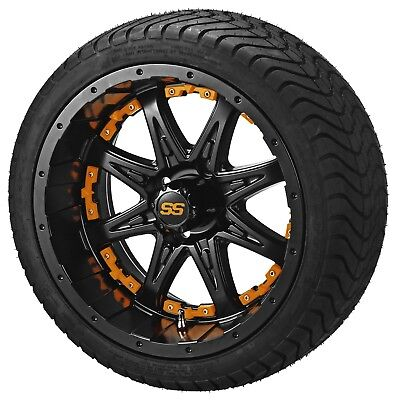 "4 Golf Cart 205/50-10 Tire on 10"" Matte Black Revenge Wheel W/Orange Inserts"