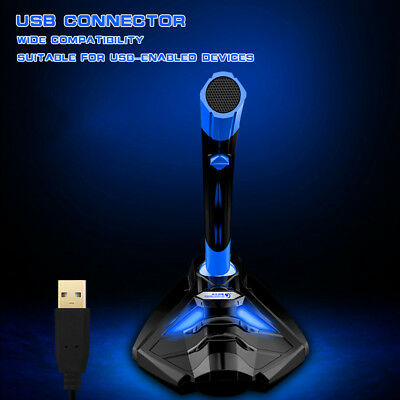COOL COLD USB Desktop Gaming Microphone Mic Stand LED Light For PC Laptop W1Y5