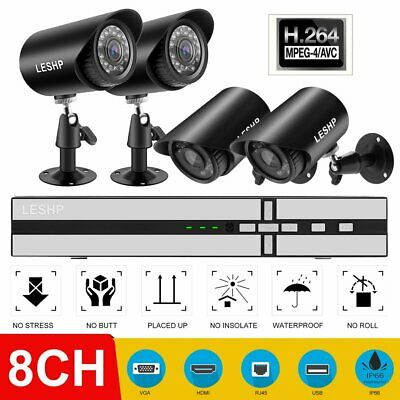 8CH 1080P DVR H.264 2MP Outdoor Night Vision Security Camera System LOT 1 900TVL
