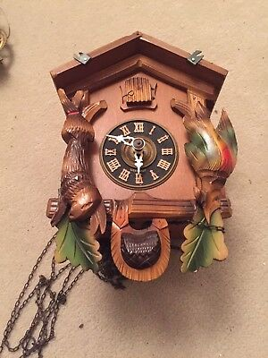 Small Hand Painted Black Forest Hare & Pheasant Cuckoo Clock Parts