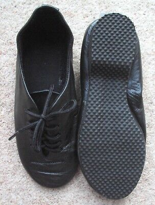 Jazz Shoes Child Size 11 Black Leather Full Sole Stage Theatre Dance Shoes NEW