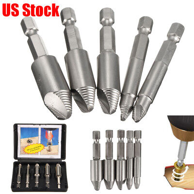 5Pcs Broken Damaged Screw Extractor Remove Easy Speed Out Bolt Drill Bits Set