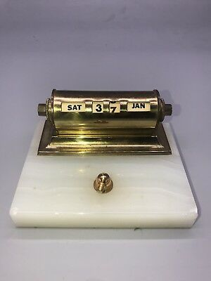 Vintage Onyx Marble Fountain Pen Holder With A Brass Date Calender