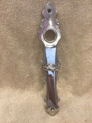 Antique Stamped Chrome Plated Brass Fancy Victorian Doorknob Back Plate