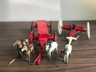 Vintage HUGE LOT Horses + Wooden Wagon Cart Carriage + Plow Antique German