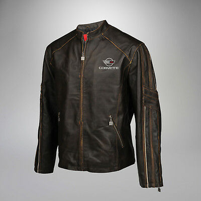 New Mens Leather Featherweight Light Jacket (1984-1996 C4 Corvette Logo) 4X 4XL
