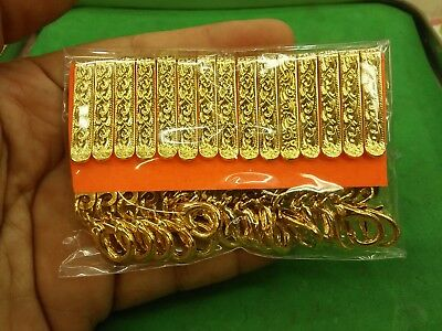 15 Pcs Gold Plate Spindle Clamp Thai Amulet Clip Pin Chain Hold Hanging Pocket