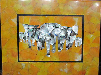 Size 4'x2' Black Marble Dining Table Top Mother of Pearl Gem Elephant Inlay Arts