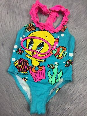 Vintage Looney Tunes Tweety Bird Baby Girls Swimsuit 1994 Warner Bros