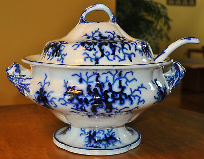 Superb Large Antique Flow Blue Soup Tureen & Ladle Ridgway Granite China c1840