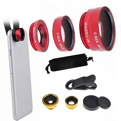 Red/ Gold 3 In1 Clip-on Wide Angle Fish Eye Macro Camera Lens Kit For Cell Phone