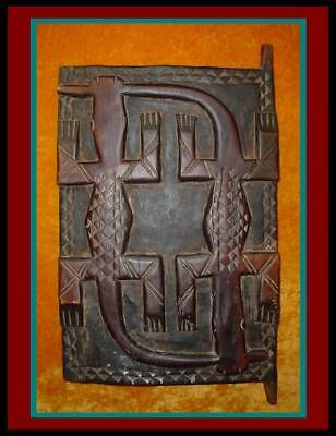 Old AUTHENTIC AFRICAN DOGON CROCODILE Hand Carved Wood GRANARY DOOR Shutter